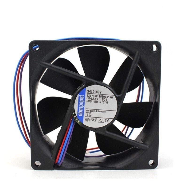 Вентилятор охлаждения Ebm Papst 3412NGV 3412 NGV DC 12 В 208ma 2,5 Вт 92x92x25 мм, Квадратный, для сервера