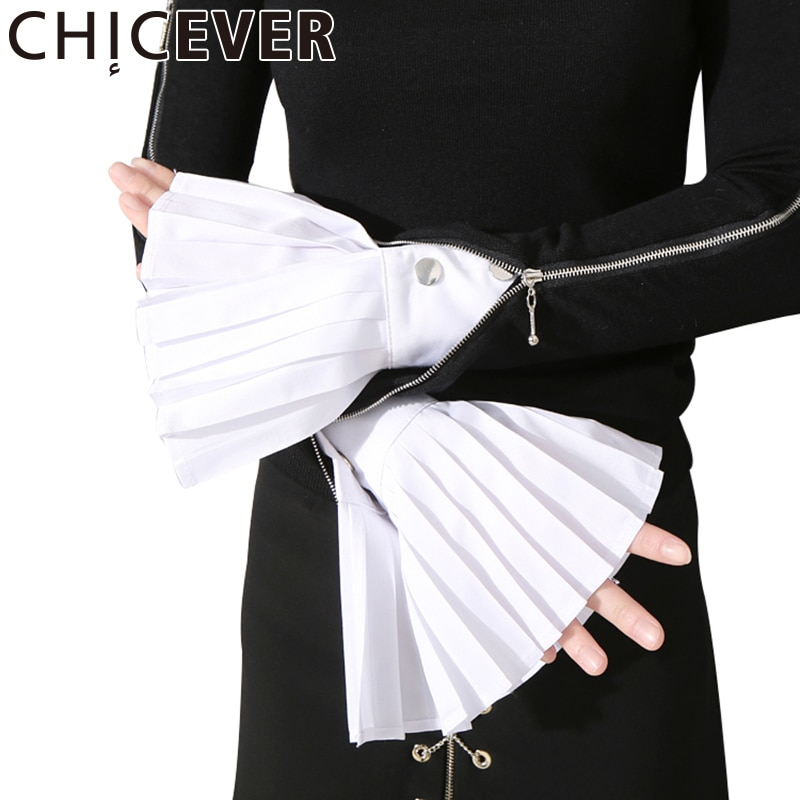 [CHICEVER] Spring The Organ Cuff Pleated Horn Cuffs Women New Fashion Clothing