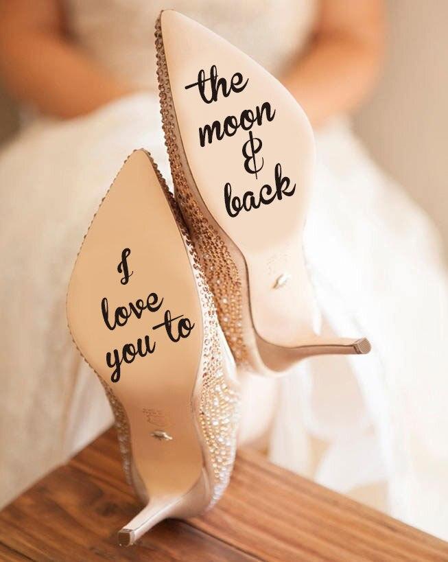 Citações eu te amo para a lua e decalque traseiro, infinito amor adesivo de vinil, casamento sapatos novidade adesivos acessórios wd22