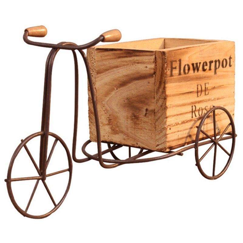 Деревянный трехколесный велосипед модель цветочный горшок из кованого железа велосипед подставка для цветов домашняя стойка для хранения ...