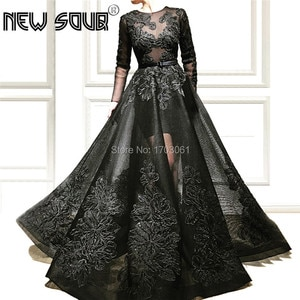 Elegant Appliques Evening Dresses 2019 Robe De Soiree Kaftans Prom Dress Formal Party Gowns Black Muslim Dubai Gown Abendkleider