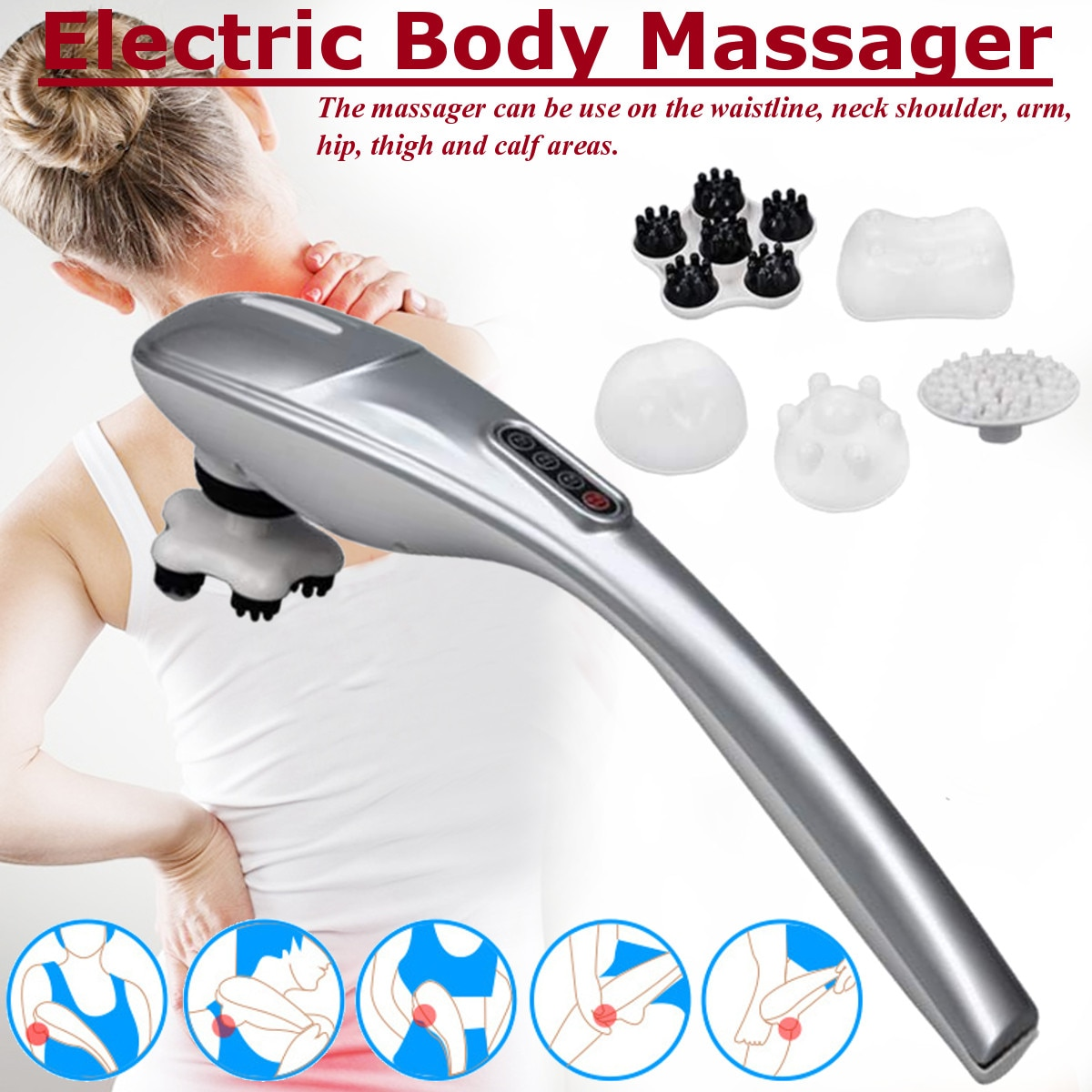 Masajeador de cuello eléctrico automático martillo de mano masaje infrarrojo espalda cintura pierna cuerpo relajar Vertebra Cervical rodillo masaje Stick