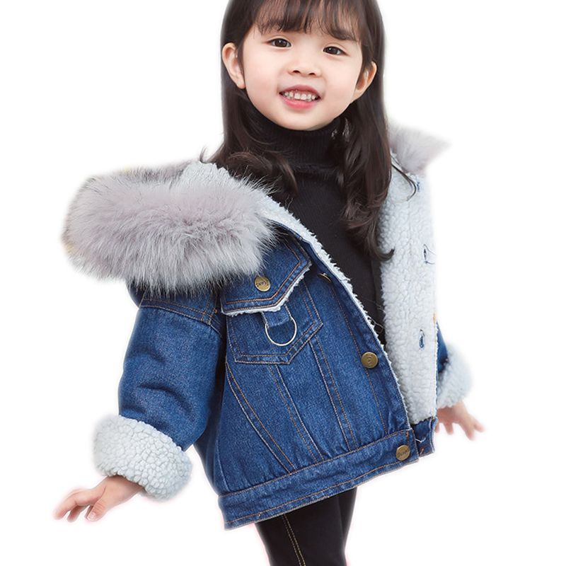 Children's Clothing Winter Baby Girl Cartoon Plus Velvet Denim Jackets Coat Girls Coats Boy Girl Clothes Baby Coats Outerwears