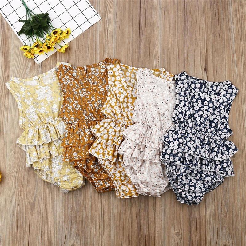 Multicolorido floral bonito do bebê da menina plissado macacão outfits sunsuit para recém-nascidos infantil crianças roupas do miúdo 2019