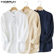 INCERUN codzienna koszula męska 3/4 rękaw stojak kołnierz bawełniana pościel luźne góra bluzka stałe chiński styl klasyczne koszulki mężczyźni S-5XL