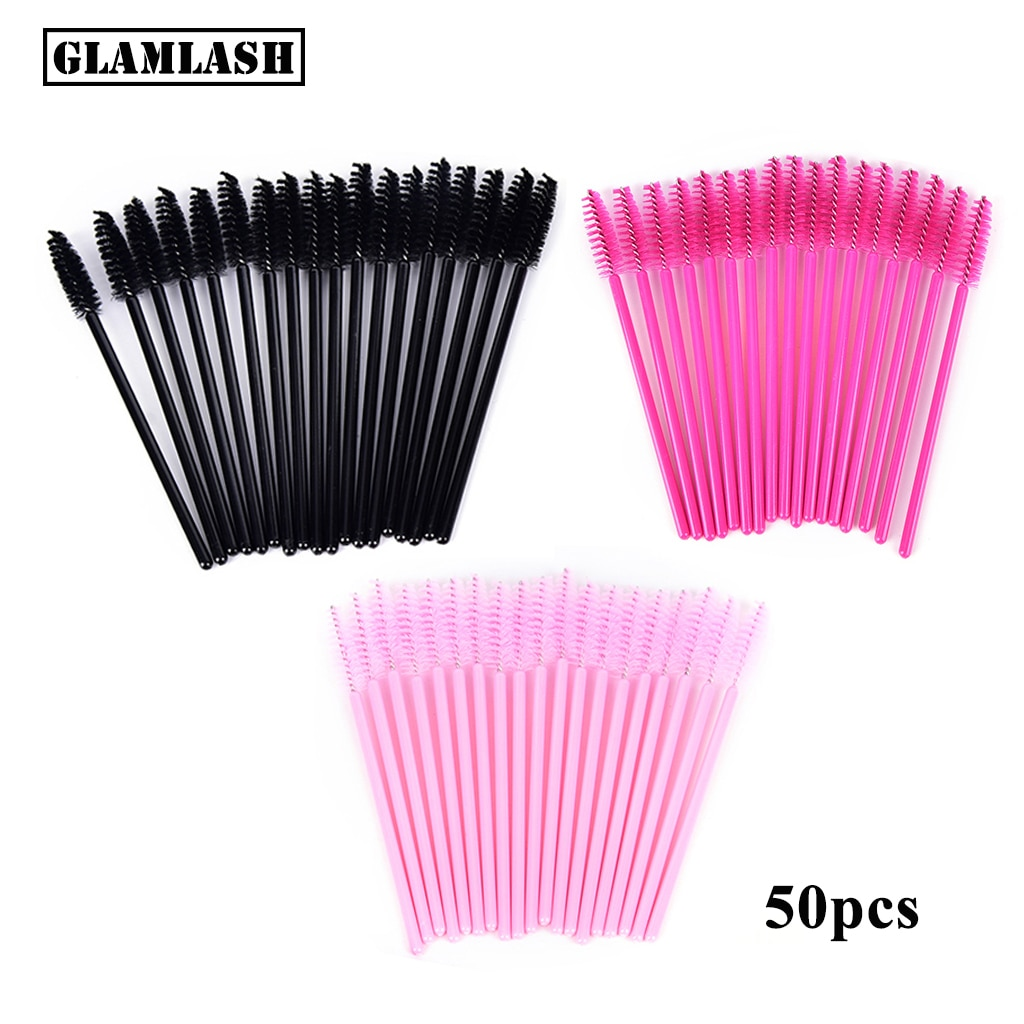 50 шт. одноразовых щеток для наращивания ресниц GLAMLASH premium, микро тушь для ресниц, палочка для ресниц, аппликаторы для бровей