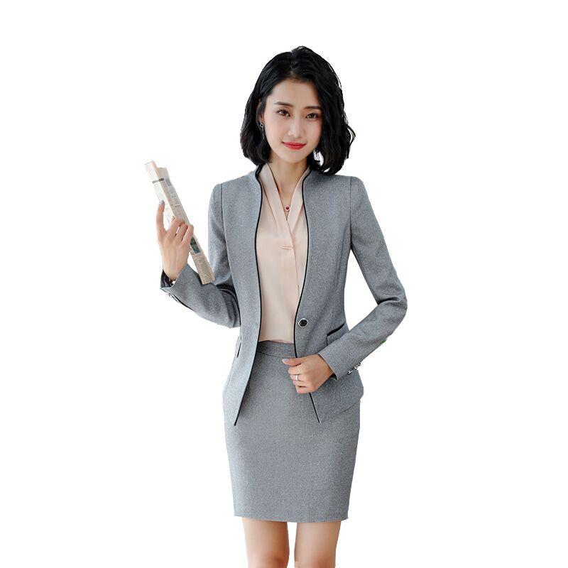 Traje de oficina de otoño para mujer, traje Formal de negocios, Blazer elegante + falda delgada, traje de 2 piezas, uniforme de oficina para mujer
