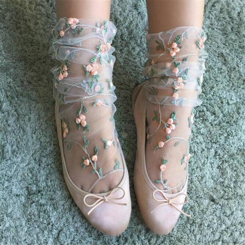 Винтажные женские ажурные высокие носки с рюшами и бантом; Короткие носки в сеточку в стиле ретро с цветочным кружевом и сеткой; Прямая поставка; Оптовая продажа