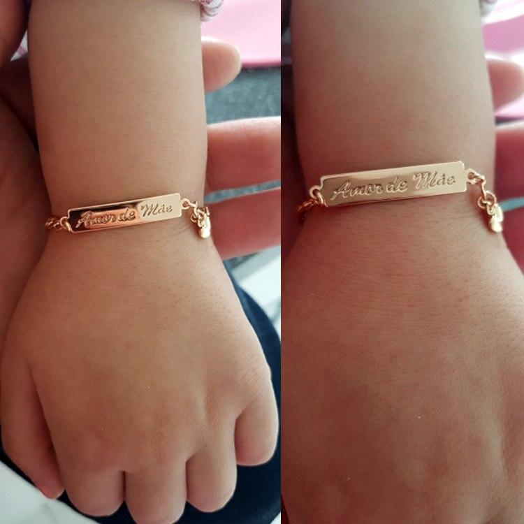 Pulseira do amor da mãe bebê, joias de ouro batizado, braçadeira, pulseira, meninos, meninas, bileklik, branzoletki, b01mae