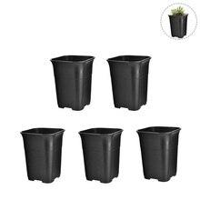 Mini planteurs de fleurs noires   Carré 5 pièces, taille haute, petits pots de plantes succulentes, planteuses de fleurs