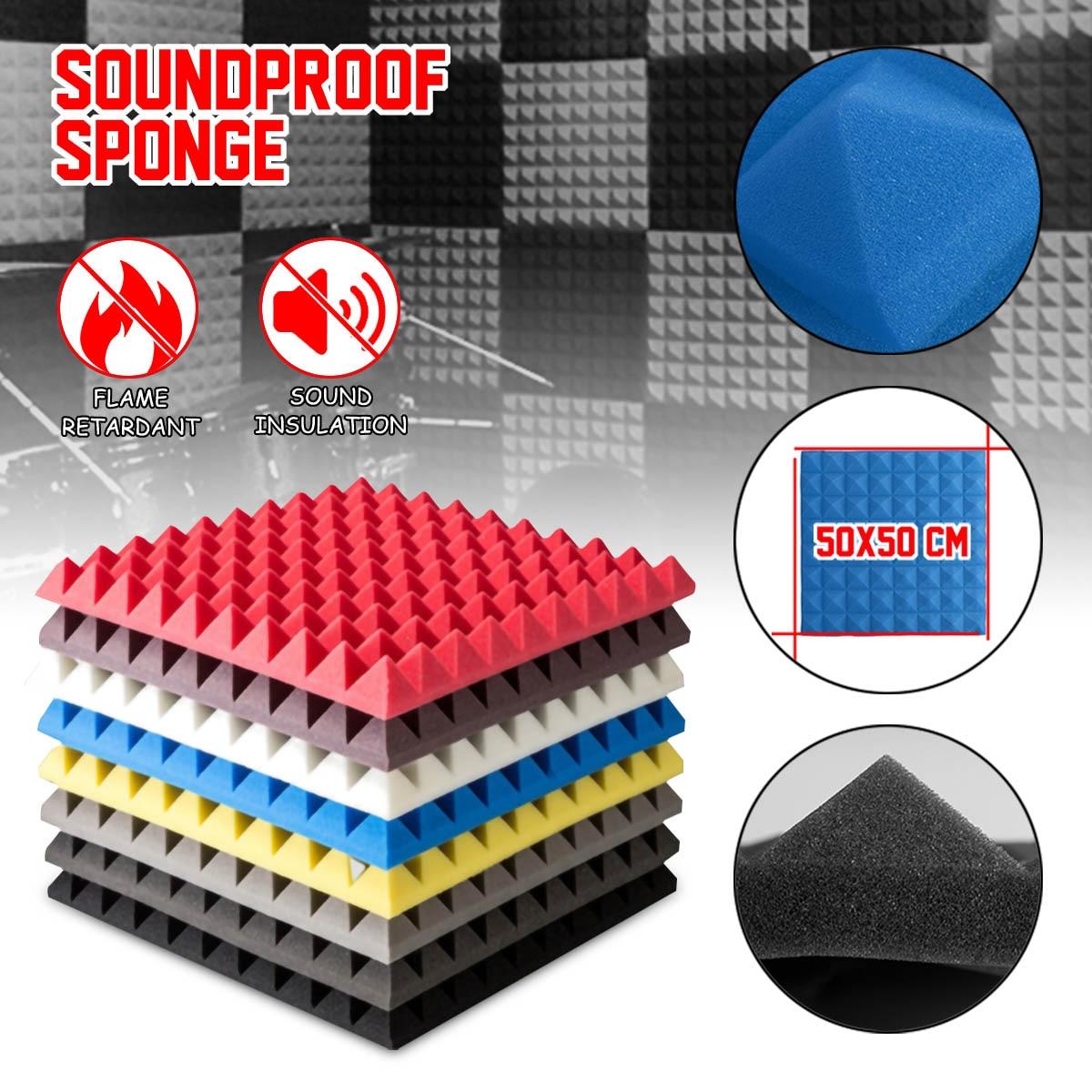 6 قطعة عازل للصوت رغوة رغوة صوتية معالجة الصوت امتصاص إسفين البلاط رغوة البولي يوريثين 500x500 مللي متر الضوضاء الإسفنج