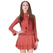 Платье из хлопка, платья, женские платья, винтажные бутоны, однотонные, выше колена, мини, рукав-лепесток, водолазка, красный, MX220
