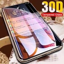 Protector de pantalla de vidrio templado 30D para iPhone, 11, 12, 13 Pro MAX, 11, 12, X, XR, XS, MAX, 7, 8