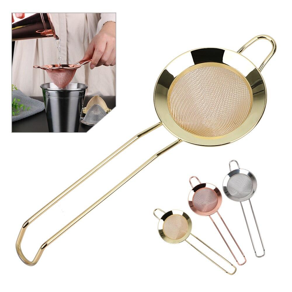Colador de malla fina de alambre de acero inoxidable Gadgets colador de harina colador Filtro de cóctel para eliminar Bits de jugo