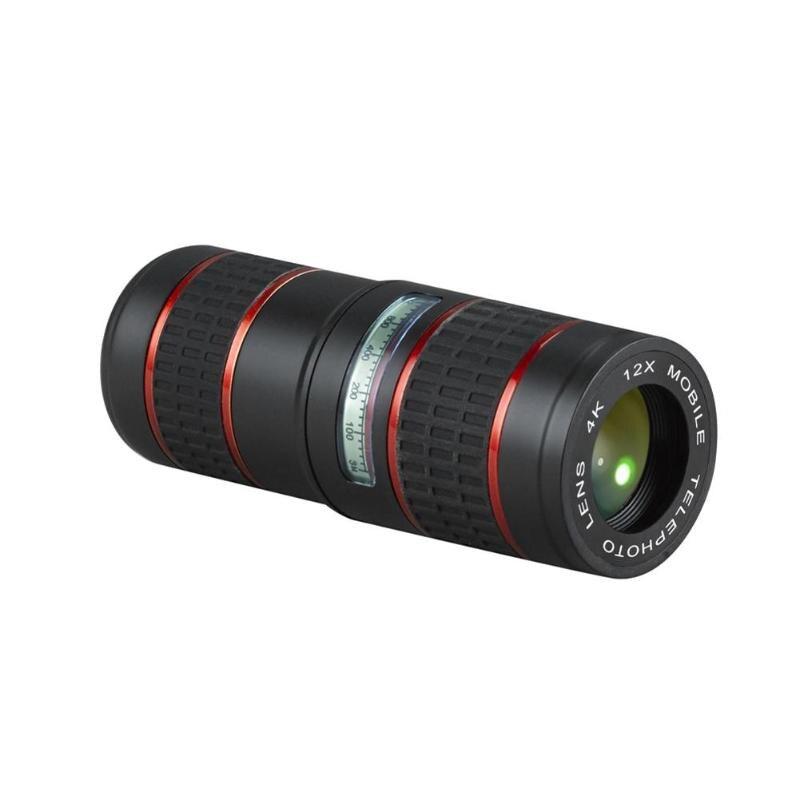 Clip Universal 12X Zoom lente de telescopio óptico para teléfono móvil lente de cámara de teléfono móvil externo para iphone 4S 5S 6S 7