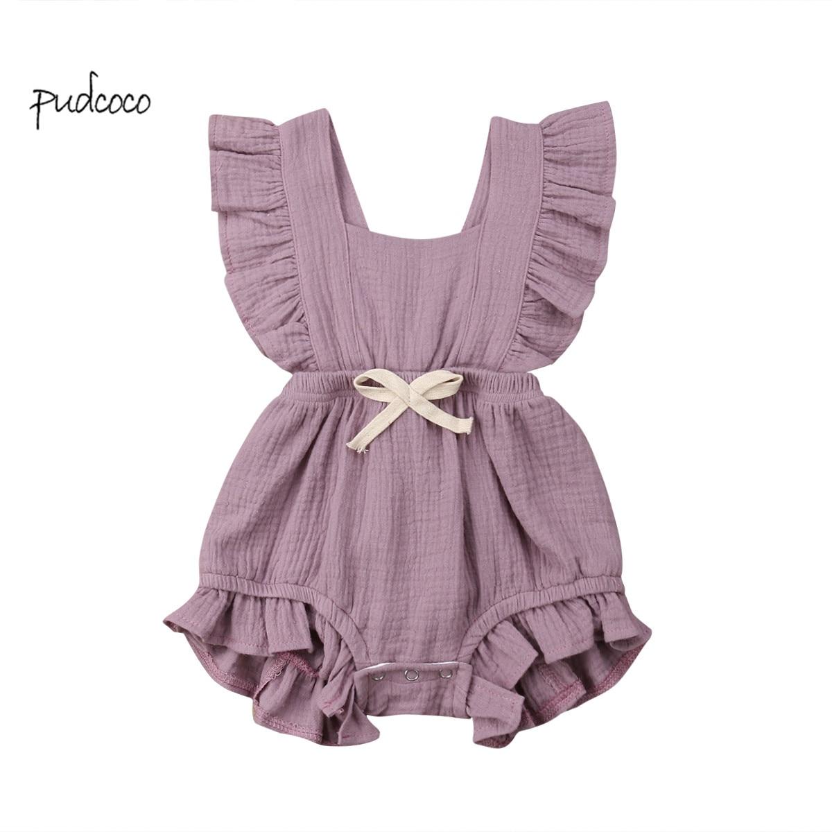 Pudcoco New Brand Newborn Baby Girls Ruffle  Solid Sleeveless Bodysuit Outfits Sunsuit