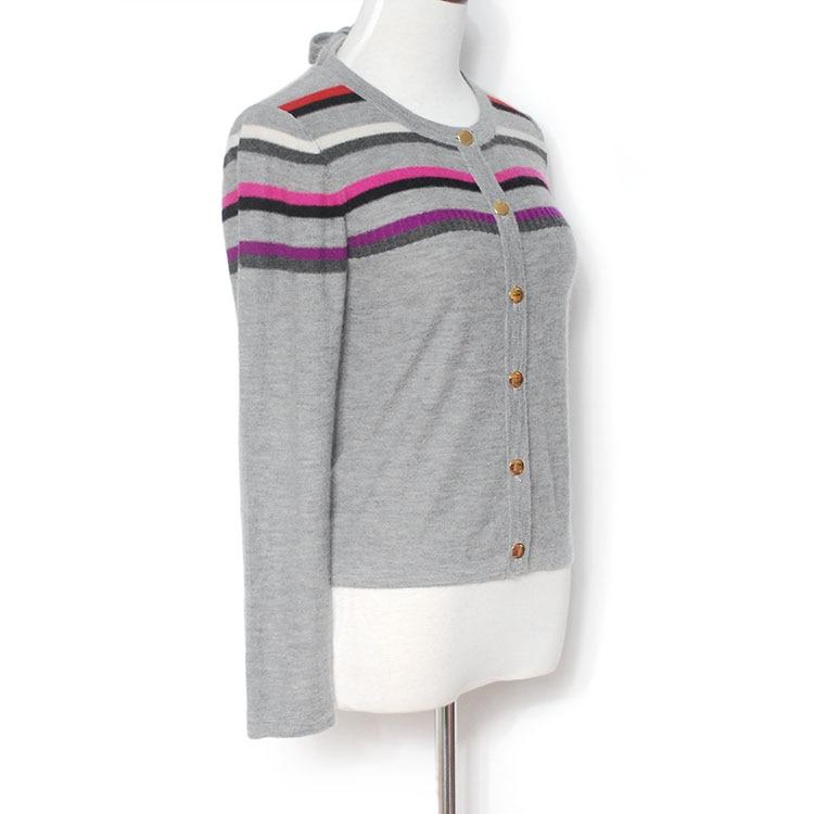 Yuninyoyo  autumn winter Worsted spinning 100% Cashmere cardigan  Single breasted  with stripe Long sleeves woman cardigan enlarge