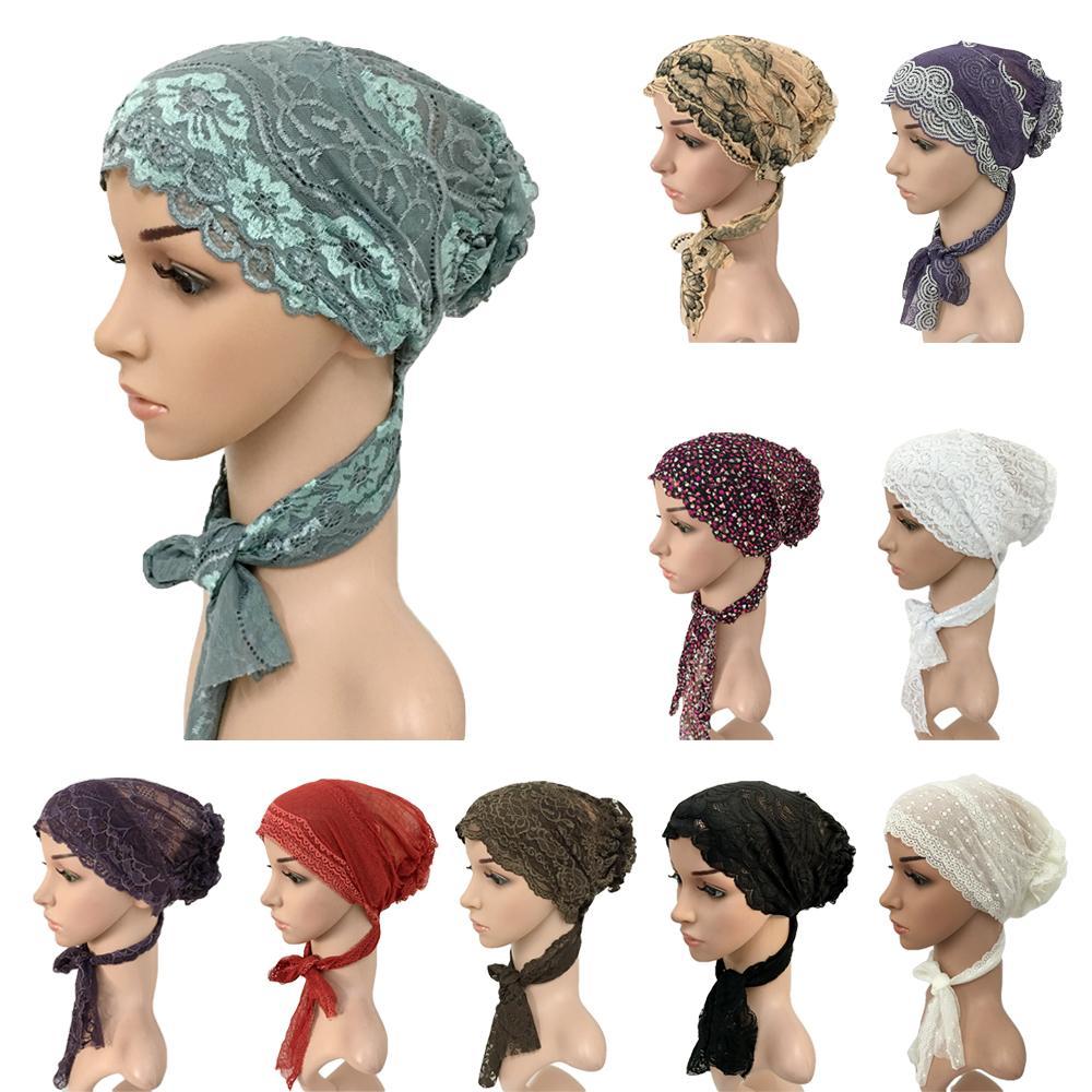 Mujeres sombrero musulmán Hijab Floral encaje Stretch turbante Cap Islam árabe Beanies quimio sombrero gorro hiyab cola larga Ramadán gorro nuevo