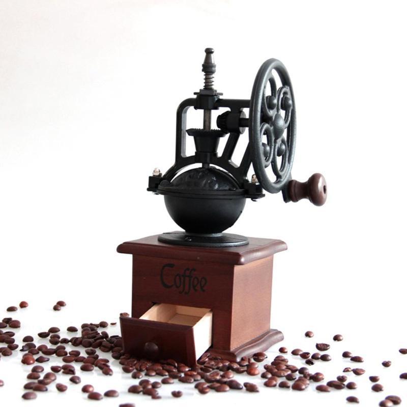 خمر ريترو دليل طاحونة القهوة دُولابٌ دَوّار كرنك اليد صانع القهوة