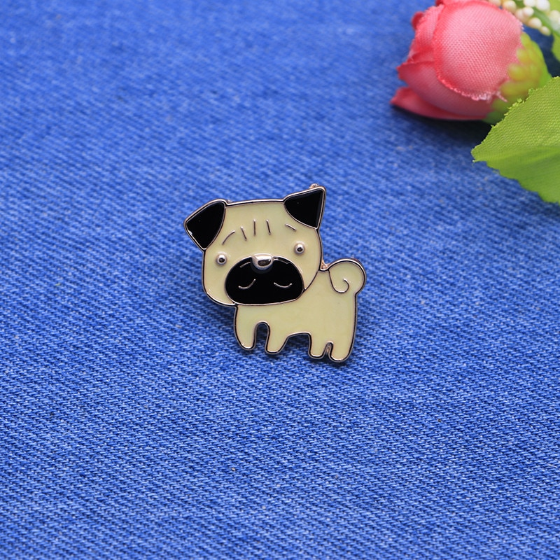 Desenhos animados animais broche amarelo pug cão esmalte pino para meninos lapela pino chapéu/saco pinos denim jaqueta camisa feminina broche distintivo sc4308
