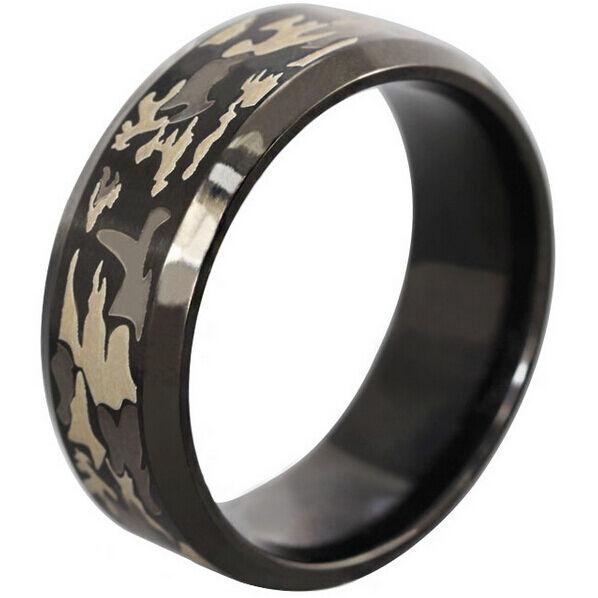 8MM SZ 7-14 de acero inoxidable de roble Camo de caza de boda camuflaje bosque anillo de la banda del anillo de la fiesta de los hombres anillo de aniversario joyería