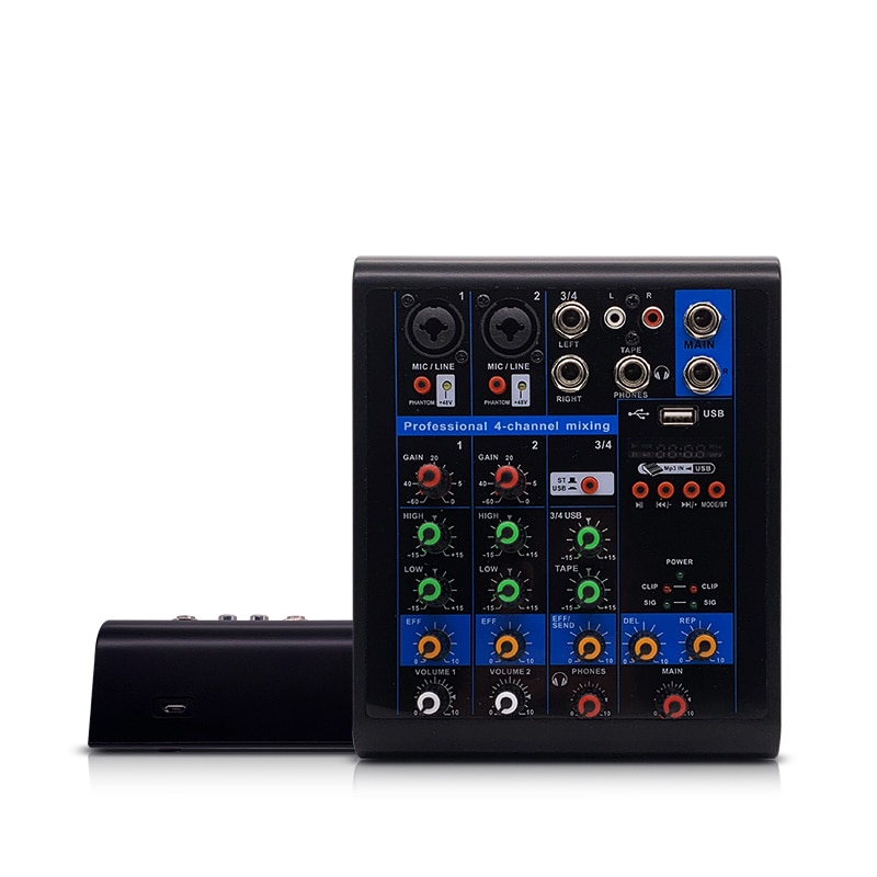 LEORY-Mezclador de Karaoke, profesional, 4 canales, Audio de estudio, DJ, consola mezcladora, amplificador, Mini micrófono Digital, mezclador de sonido