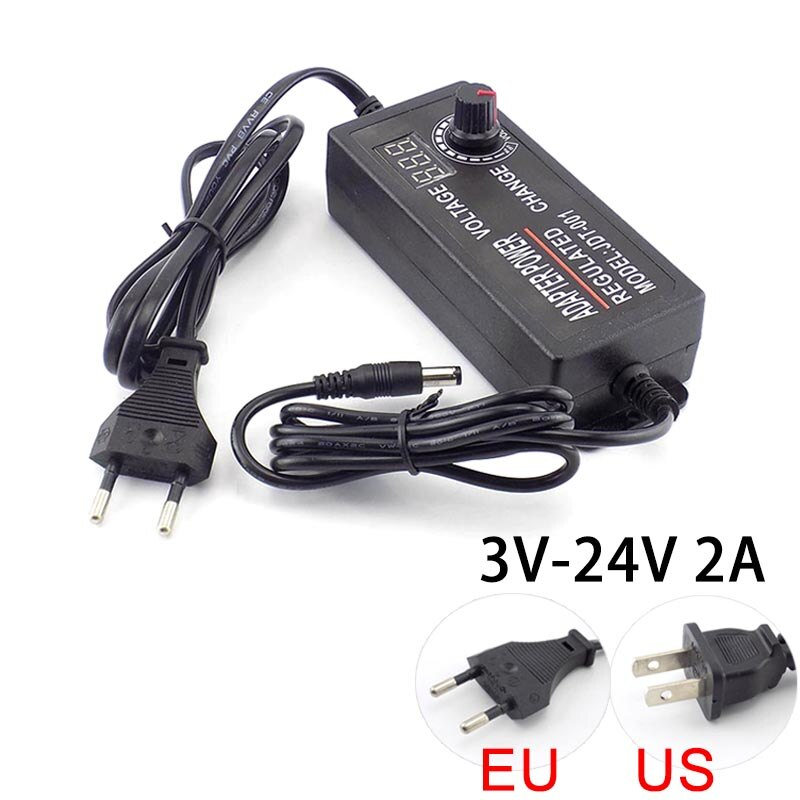 Adaptador ajustable AC DC 3V 24V 2A 100-220V 48W fuente de alimentación...
