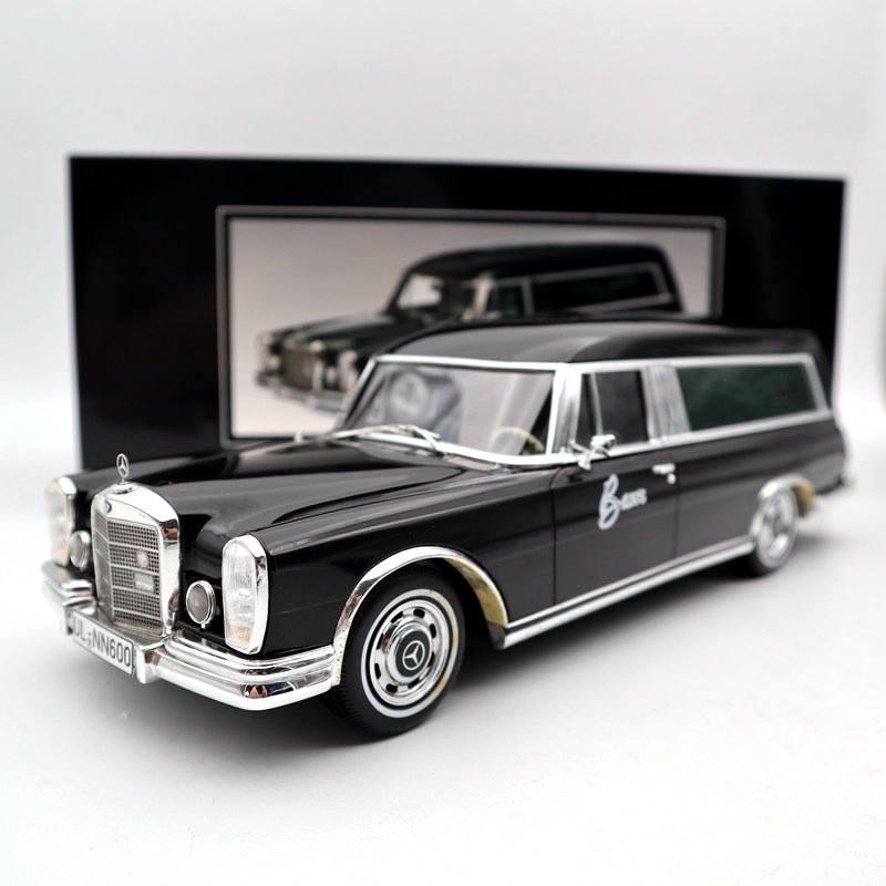 SCHUCO-تمثال من الراتينج للسيارة ، لعبة سيارة جنائزية ، مقياس 1:18 لـ Mercexdes-Beniz 600 ، CARRO ، 1965 ، أسود ، مجموعة هدايا