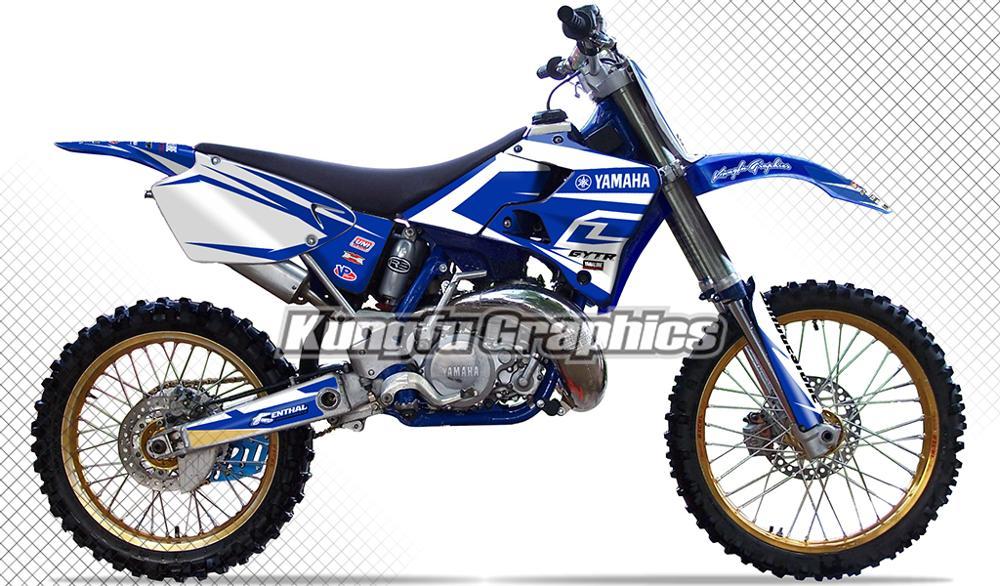 KUNGFU gráficos pegatinas de Motocross personalizado MX calcomanías Kit de vinilo para Yamaha YZ 125 250 YZ125 YZ250 1996 1997 1998 1999 2000 2001