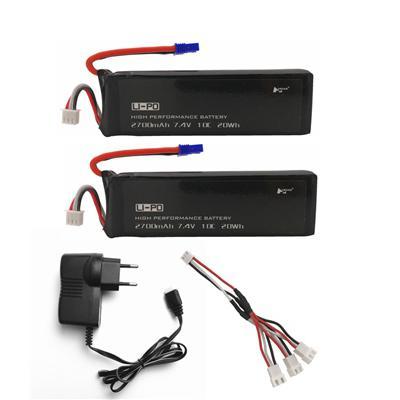 Bateria 7.4 v 2700 mah 10c de rctown h501s para h501s h501c x4 rc quadcopter bateria com 1 em 3 cabo e carregador usb conjunto