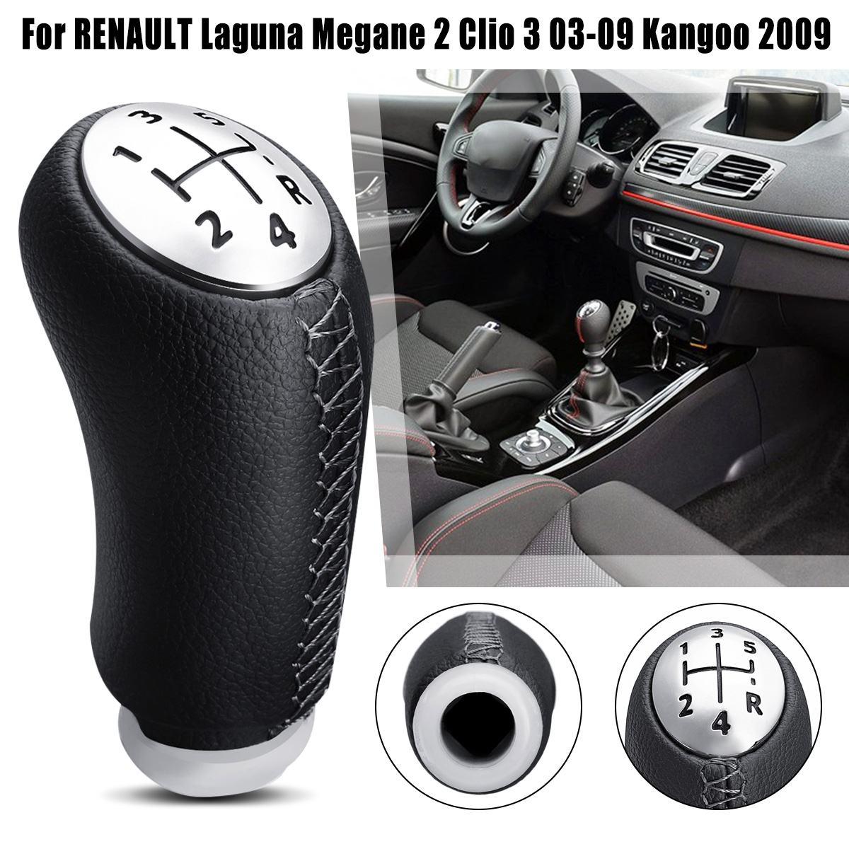 Velocidad de 5 de mando de cuero de la PU de la cabeza de palo para Renault Laguna Megane 2 Clio 2003, 2004, 2005, 2006, 2007, 2008, 2009 Scenic2 Kangoo