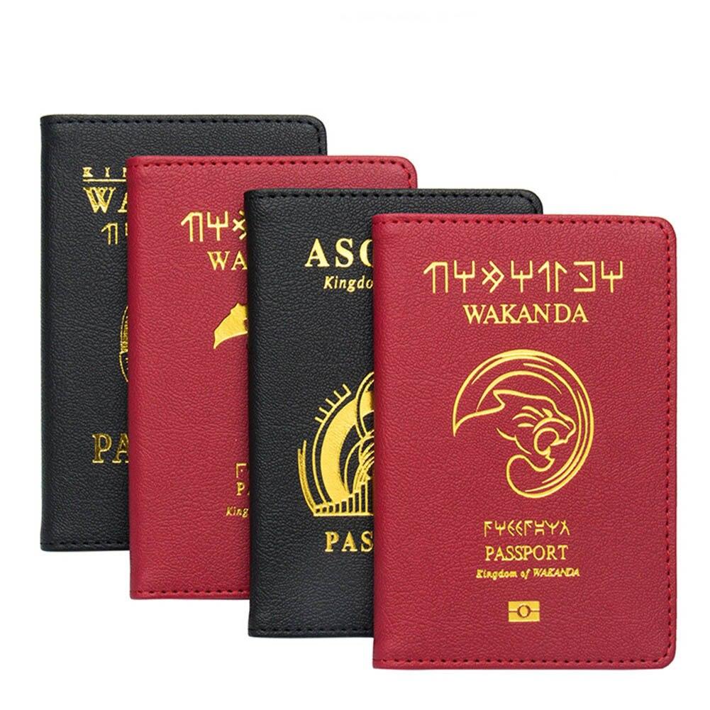 SFG HAUS Wakanda Passport Abdeckung Unisex Hohe Qualität Leder Karten Halter Reisepass Hogwarts Asgard Reisepass Fall
