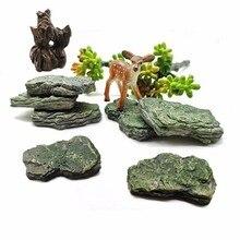 Fake Stone Artificial Hill Mountain Model Figurine Craft Miniature Fairy Garden Decoration Aquarium Ornament DIY Accessories