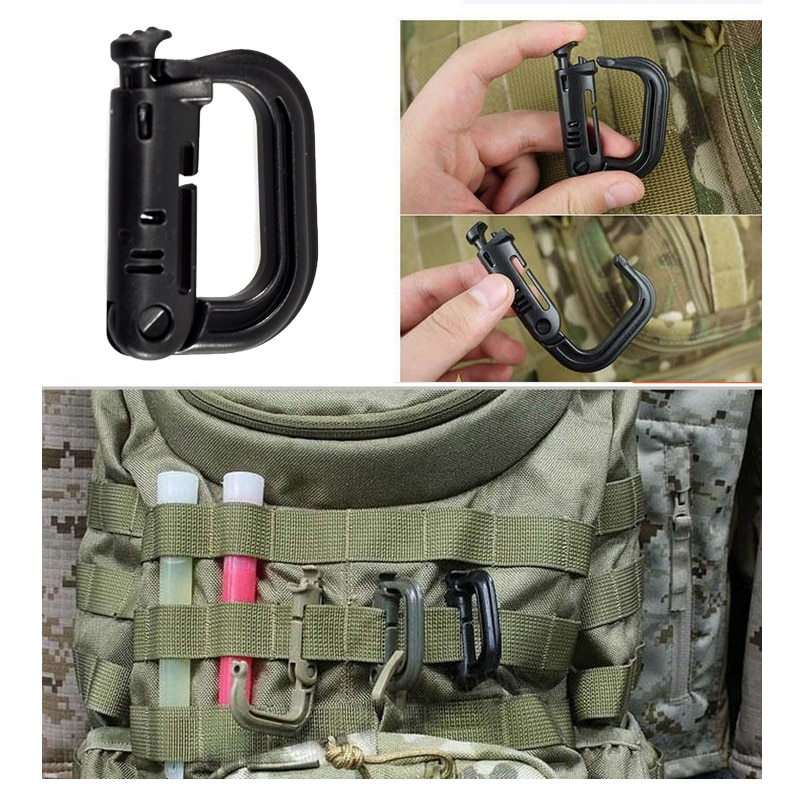 D-ring Clip Molle cincha para mochila hebilla Snap EDC enganche grillete mosquetón bloqueo Grimlock campamento Hike montaña escalada al aire libre
