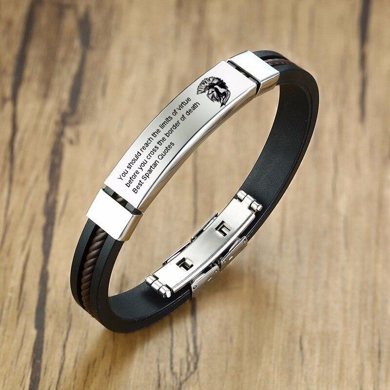Силиконовый lD браслет, персональный гравированный Spartan шлемы и нержавеющая сталь, на заказ, имени, мужские украшения