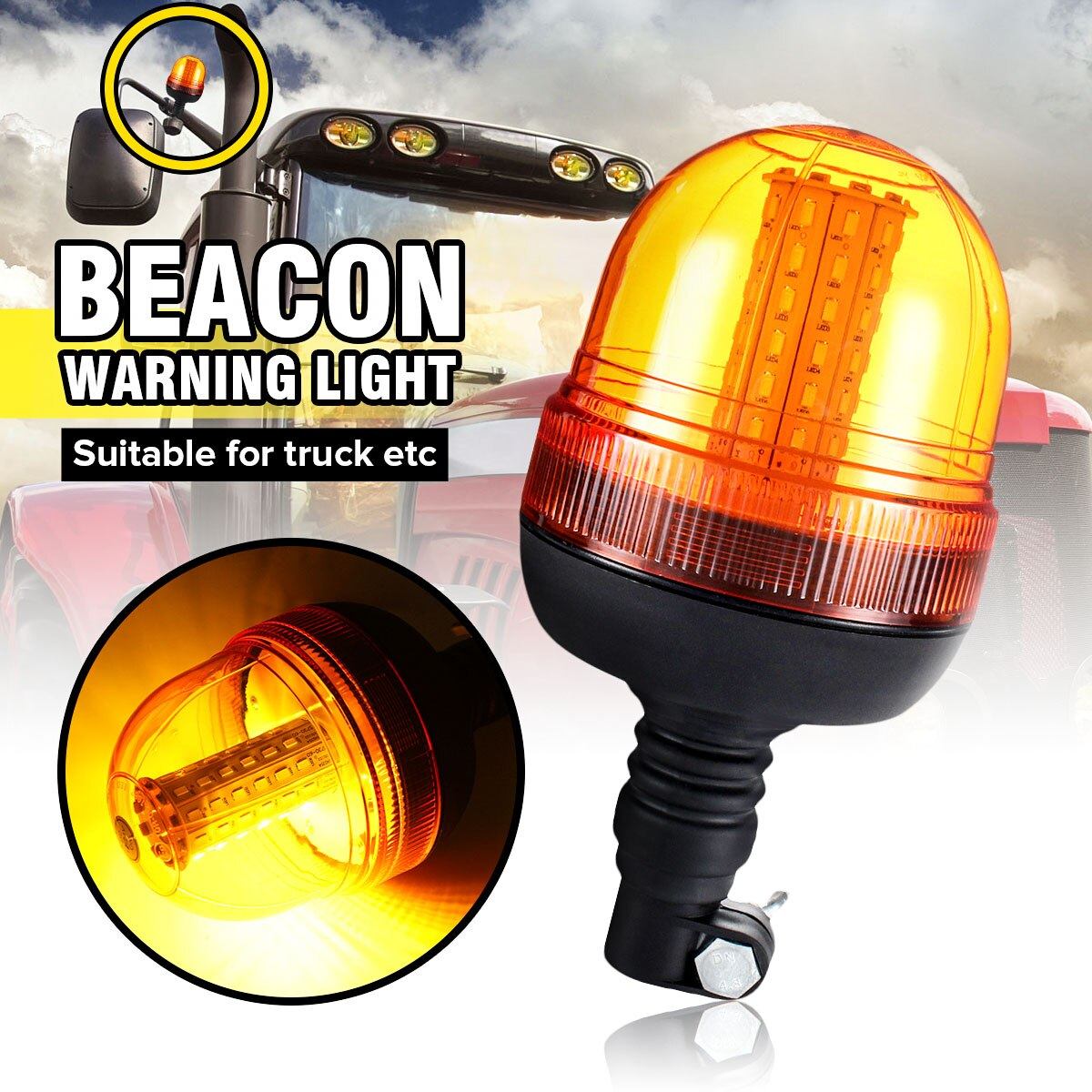 Safurance LED الدورية وامض العنبر منارة مرنة الدين القطب جرار تحذير ضوء المرور ضوء الطريق السلامة