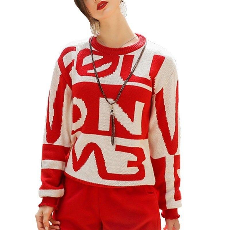 Otoño e Invierno suéter rojo mujer 2018 nuevo cuello redondo manga larga oreja de madera letra suelta Pullover mujeres prenda superior HJ86