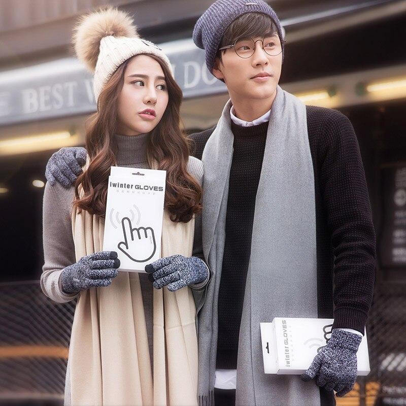 Warm Winter Unisex Knitted Full Finger Touch Screen Gloves Plus Velvet Non-slip Couple Gloves Gift P
