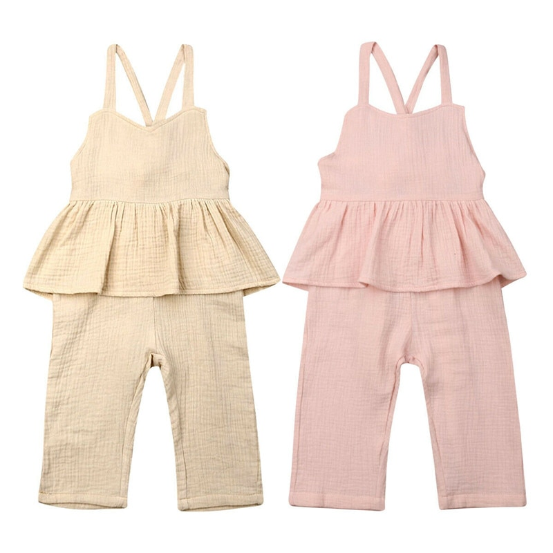 baby romper clothes Toddler Kids Baby Girl Ruffle Romper Jumpsuit One-Pieces lace Up Outfit Sunsuit