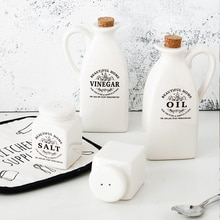 Sale Ceramic Salt And Pepper Shakers And Vinegar Oil Bottle Can Set Home Steakhouse Seasoning Tools Spice Jar Saleros De Cocina
