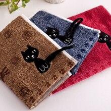 Haute qualité 1PC chat imprimé doux serviettes 25x50cm offre spéciale dessin animé ménage enfant serviette visage serviette populaire Couple mignon coton