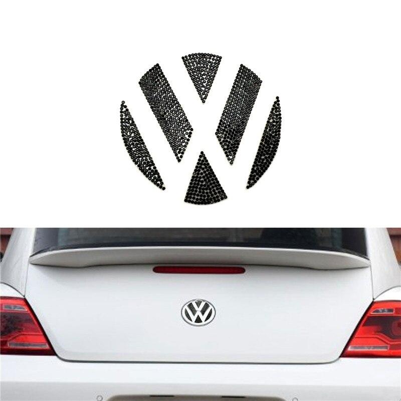 For Volkswagen Beetle Car Styling Crystal Bling Sticker Front Black Emblem