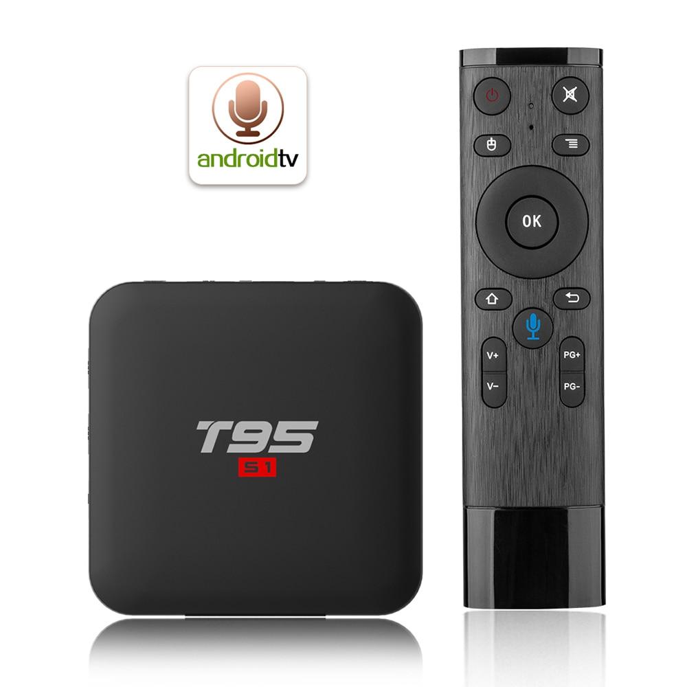 T95 S1 Android 7,1 TV Box 2G/16G Amlogic S905W Set Top Box control remoto por voz 2,4G WiFi 100M LAN reproductor de medios HD pantalla LED