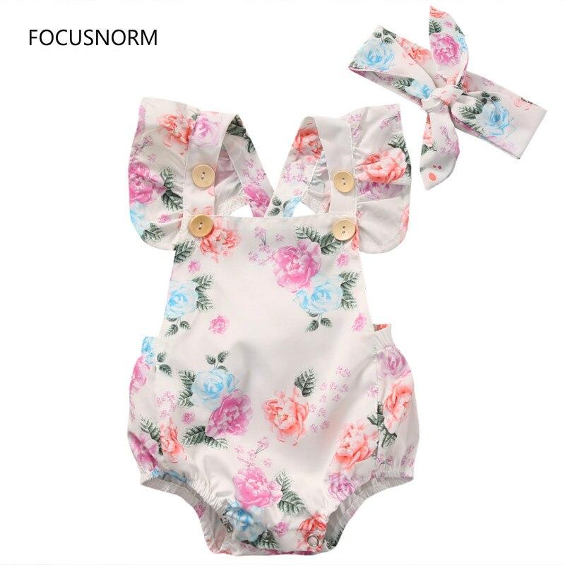 FOCUSNORM 2018 lindo Floral bebé niñas verano flor Romper Sunsuit + diadema algodón conjuntos ropa