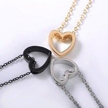 Mode collier coeur design noir or argent couleur creux simple bijoux pour les femmes cadeau de mariage 2018 chaud nouveau xz3