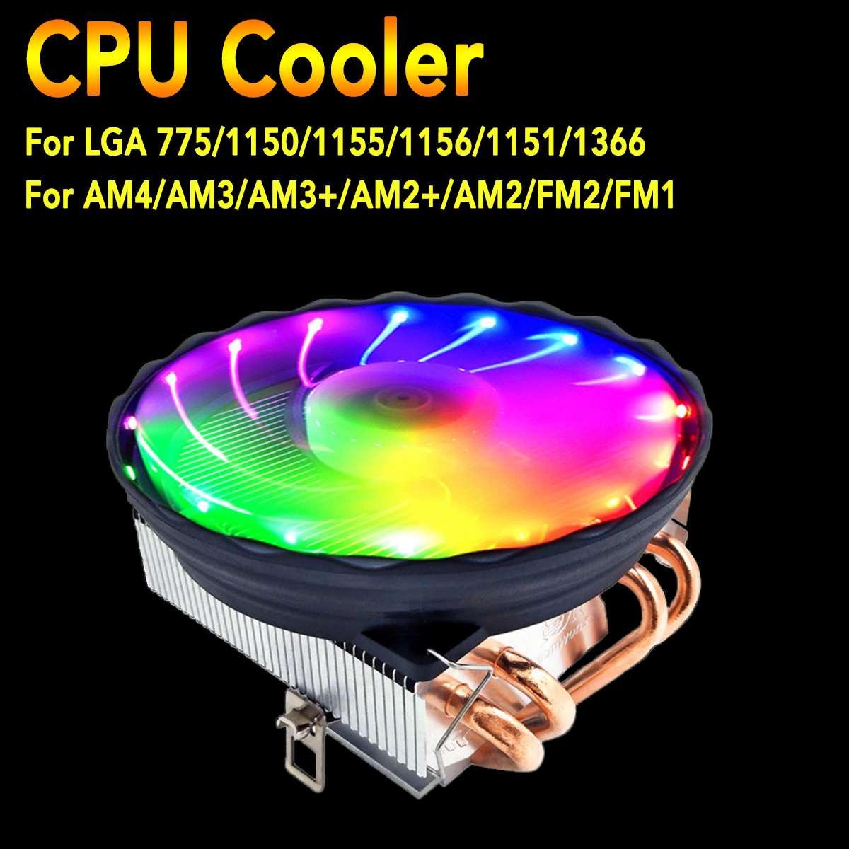 Ventilador LED RGB de 120mm, 4 Heatpipe CPU Cooler para Intel LGA 1150/1151/1155/1156/1366/775, radiador de refrigeración para AMD AM3 + AM3 AM2 + AM2