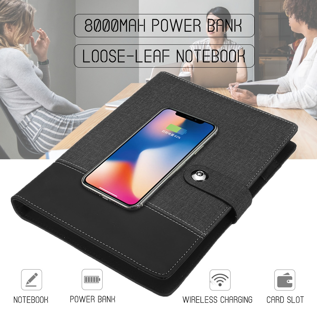 Cuaderno multifuncional con batería externa de 6000 mAh Qi cuaderno de notas de carga inalámbrica carpeta con espiral planificador diario cuaderno de notas de negocios