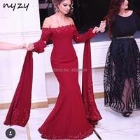 nyzy e15 arabic evening dress cape long sleeves 2019 robe soiree dubai burgundy chiffon lace formal dress party
