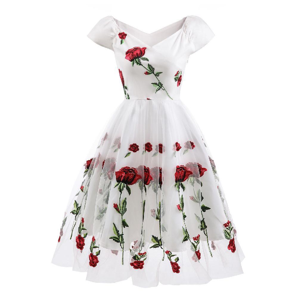 Vestido de mujer MISSKY de manga corta con cuello en V, elegante bordado de flores, encaje de malla, vestido Formal para mujer, ropa para fiesta o boda