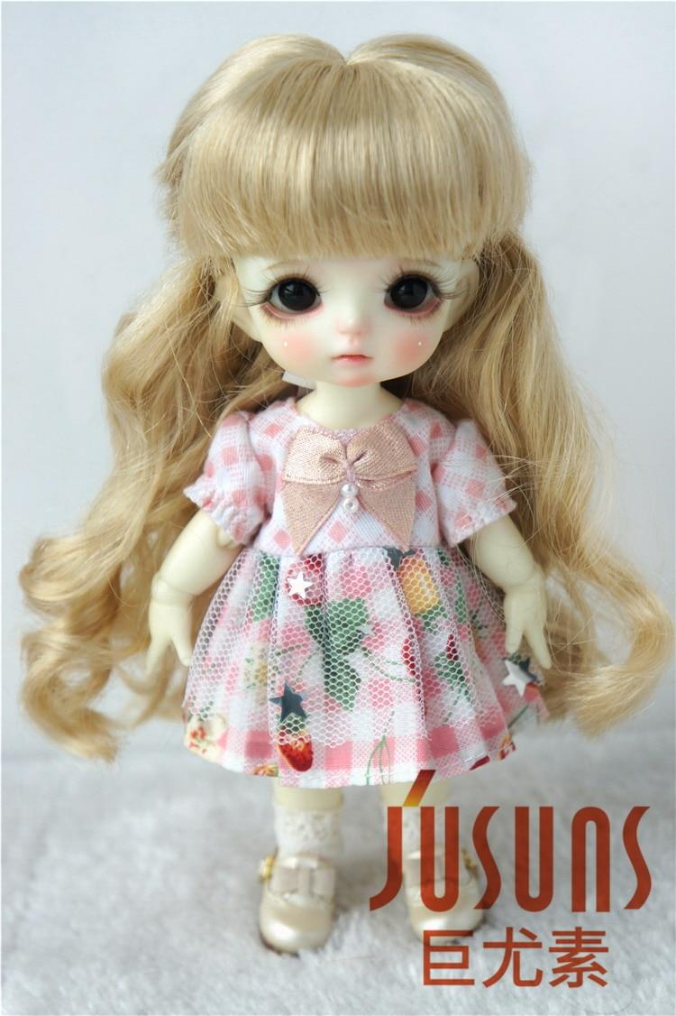 JD417 1/8 1/3 moda rizado largo bjd wigin tamaño 5-6 pulgadas 9-10 pulgadas Peluca de angora sintética suave muñeca accesorios BJD pelucas